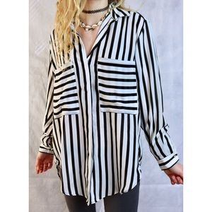 Zara Basic Monochrome Stripe Button Up Blouse Top